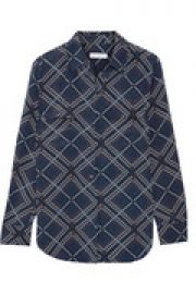 Slim Signature printed washed-silk shirt at The Outnet