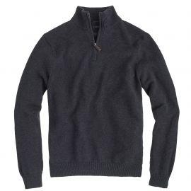 Slim cotton-cashmere half-zip sweater in grey at J. Crew