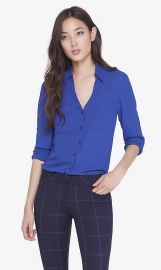 Slim fit convertible sleeve portofino shirt at Express