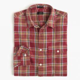 Slim heathered slub cotton shirt in red plaid at J. Crew