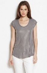 Slouchy grommet tee in gunmetal at Armani Exchange