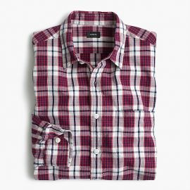 Slub Cotton Shirt in Red Check at J. Crew