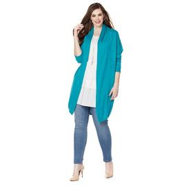 Slub knit cocoon cardigan by Melissa McCarthy Seven7 at HSN