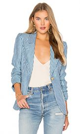 Smythe Patch Pocket Duchess Blazer in Tonal Blue Stripe from Revolve com at Revolve