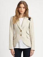 Smythe equestrian leather trim blazer at Saks at Saks Fifth Avenue
