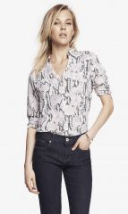 Snakeskin print shirt at Express