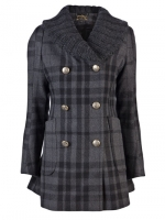 Snows grey check peacoat by Vivienne Westwood at Farfetch