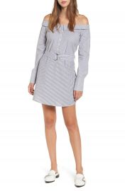 Socialite Portrait Neck Stripe Poplin Shirtdress at Nordstrom