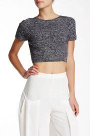 Solange Herringbone Wool Crop Top in charcoal at Nordstrom Rack