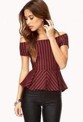 Sophisticated Stripes Peplum Top at Forever 21