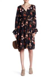 Soprano   Floral Tie-Sleeve Midi Dress   Nordstrom Rack at Nordstrom Rack