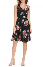 Soprano Floral Print Fit   Flare Dress at Nordstrom