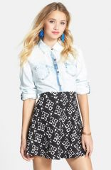 Soprano Textured Flower Print Skater Skirt in black at Nordstrom Rack