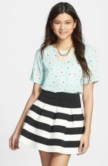 Soprano Textured Stripe Full Skirt at Nordstrom
