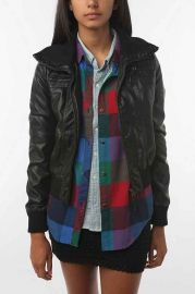 Sparkle and Fade Faux Leather Bomber Jacket at Urban Outfitters