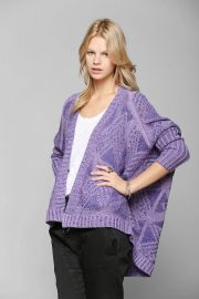 Sparkle and Fade Geo-Plaited Open Cardigan in purple at Urban Outfitters