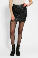 Sparkle and Fade Quilted Vegan Leather Mini Skirt at Urban Outfitters