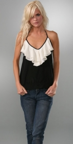 Spencers black and white ruffle top at Shopbop