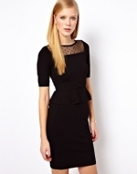Spencers black peplum dress at Asos