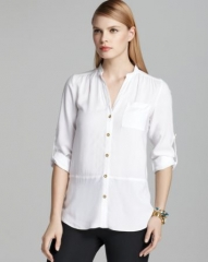 Spense Mandarin Collar Shirt with Tulip Back at Bloomingdales