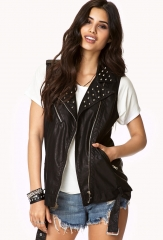 Spike leather vest at Forever 21