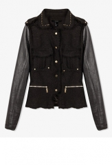 Spiked Collar Tweed Jacket at Forever 21