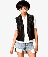 Spiked Faux Leather Moto Vest at Forever 21