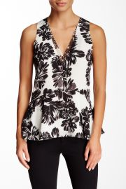 Splash Flower Print Silk Peplum Tank at Nordstrom Rack