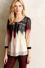 Splashed andamp Embroidered Peasant Top at Anthropologie