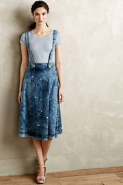 Splattered Denim Overall Skirt at Anthropologie