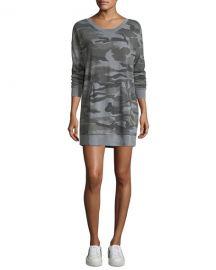 Splendid Camo-Print Crewneck Sweatshirt Dress at Neiman Marcus