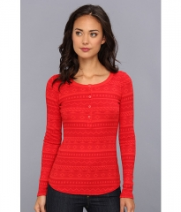 Splendid Fairisle Thermal Henley Vermillion at Zappos