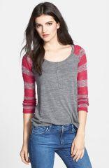 Splendid Pointelle Stripe Sleeve Henley Top in Red at Nordstrom