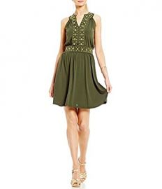 Split Neck Dome Studded Accented Band Shift Dress by MICHAEL Michael Kors at Amazon