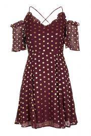 Spot Cold Shoulder Mini Dress at Topshop