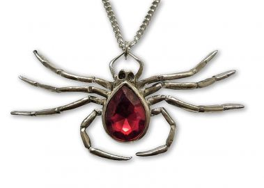 Sprawling Spider with Red Stone Body Pewter Pendant Necklace at Amazon