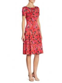 St  John - Floral-Print Boatneck Dress at Saks Fifth Avenue