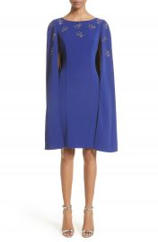 St  John Collection Embellished Classic Stretch Cady Cape Dress at Nordstrom