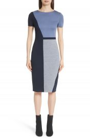 St  John Collection Slanted Colorblock Milano Knit Sheath Dress at Nordstrom