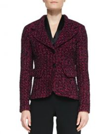 St John Collection 2-Button Blazer with Pockets BoysenberryMulti at Neiman Marcus