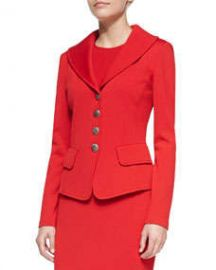St John Collection 4-Button Blazer Venetian Red at Neiman Marcus