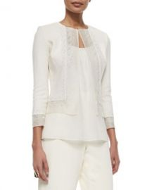 St John Collection Beaded Organza-Trimmed Boucle Jacket at Neiman Marcus