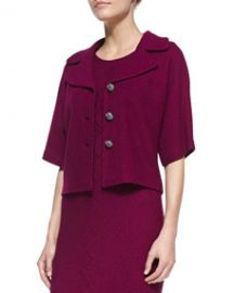 St John Collection Chevron Twill Knit Elbow-Sleeve Jacket Boysenberry at Neiman Marcus