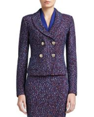 St John Collection Looped Lash Tweed Knit Double Breasted Dip Front Jacket with Shawl Collar and Pockets at Neiman Marcus