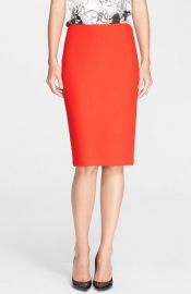 St John Collection Textured Twill Pencil Skirt at Nordstrom