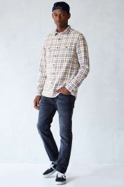 Stapleford Dawson Washed Flannel Button-Down Shirt in white at Urban Outfitters