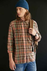 Stapleford Trenton Washed Flannel Button Down Shirt at Urban Outfitters