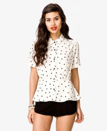 Star Print Peplum top at Forever 21