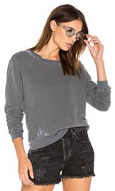 Stateside French Terry Sweatshirt with Lace in Charcoal from Revolve com at Revolve