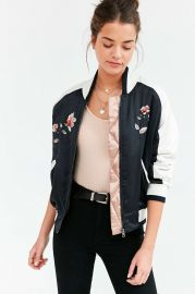 Stays On Tour Navy Satin Bomber Jacket by Silence + Noise at Urban Outfitters at Urban Outfitters